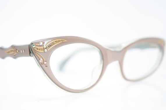 Small Frame Cateye Glasses : Small vintage cat eye glasses rhinestone cateye frames