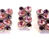 3 Amethyst crystal 2 hole beads, pink and amethyst purple spacer beads, pink and purple rectangle two hole sliders