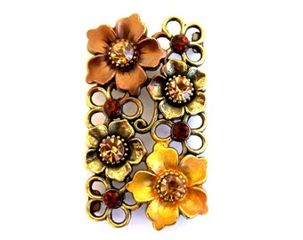 Very large topaz and brown 2 hole bead, dramatic topaz and brown floral sliders, antiqued brass setting