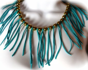 BURLESQUE FRINGE Necklace - Turquoise Leather and Gold Faceted Hematite