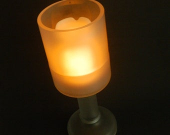 Frosted Glass Bottle Candle Holder Wine Glass Goblet ON SALE 50% OFF