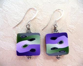Handmade Purple Green Polymer Clay earrings