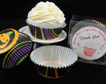 Halloween Stripes and Pumpkins Cupcake Liners, Halloween, Halloween Party, Kids Party, Halloween Cupcakes - Quantity 25