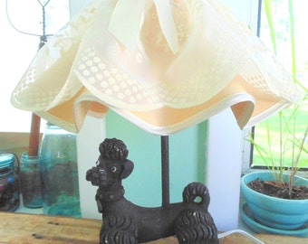 POODLE LAMP. Lamp & Shade. Black Poodle Lamp. Ceramic Poodle. Vintage 50s lighting. 50s Poodle Lamp. Ruffled Shade. Mid Century Lighting.