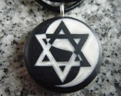 Star of David Yin Yang hand carved on a polymer clay black color background. Pendant comes with a FREE 3mm necklace
