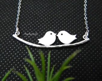 Silver Bird Necklace, Love Bird Pendant Necklace, Couple Necklace, Anniversary's Gift, Friendship Necklace, Bird Jewelry, Valentine's Gift