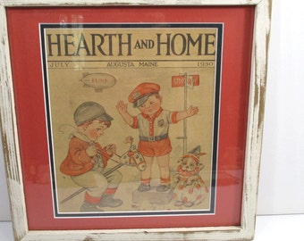 Vintage Little Boy Policeman Framed Illustration - 1930s Hearth & Home Magazine