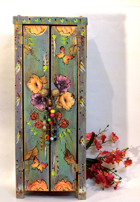 Boho Handmade Wooden Standing Cabinet Mexican By