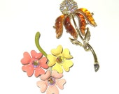 Two Vintage Flower Brooches