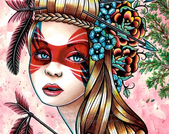 Tattoo Art Print Traditional Tattoo Flash Arrow Girl With Feathers Home Decor Pretty Wall Art Signed -Traitors - 5x7, 8x10, or 11x14 in