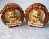 Opryland Bear and Log Salt and Pepper Shakers - Vintage, Collectible, Souvenir