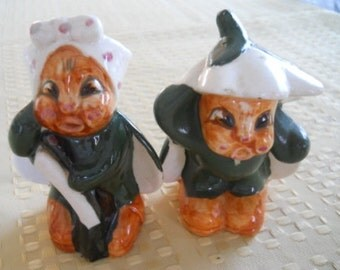 Pixie Salt and Pepper Shakers - Vintage, Collectible