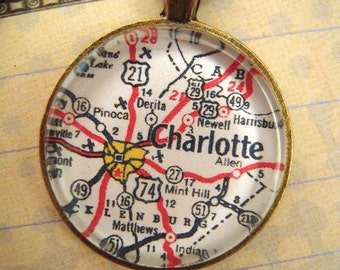 Custom Map Jewelry, Charlotte North Carolina Vintage Map Pendant Necklace, Personalize Map Jewelry, Map Cuff Links, Groomsmen Gifts