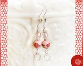 Hooks, Pink Hand Painted Ceramic Beads, Pink Czech Crystals, Double Open Silver Hearts Dangles, Sterling Silver Heart Hooks Earrings