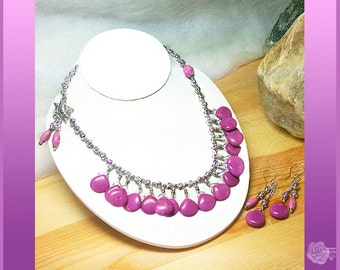 """17"""" Asymmetrical Necklace Purple Turquoise Teardrops Purple Enameled Silver Beads Pewter Toggle Clasp Love Charm And/Or Matching Earrings"""