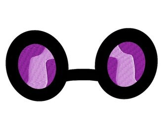 PES FILES: Vinyl Scratch Glasses - Embroidery Machine Design File