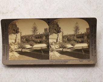 vintage stereocard photograph : keystone stereo card palace of cortes cuernavaca paper ephemera mixed media