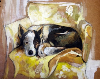 Dog on chair Painting