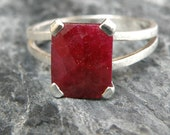 Ruby Engagement Ring, Opaque Ruby Ring Sterling Silver Ring, Emerald Cut Ring, Genuine Ruby Jewelry, Red Gemstone Ring - MADE TO ORDER