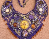 SALE purple and gold dragonfly beaded collar necklace