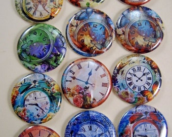 "Clock Magnets, Clock Pins, Floral Clock Magnets, Floral Clock Pins, Magnet Gift Sets, 1"" Inch Flat, Hollow Back, Cabochons, 12 ct."