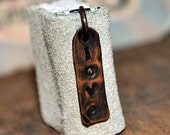 Love, tiny leather journal book, handmade, miniature, jewelry art, necklace, accessory, JunqueTreasures