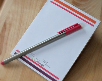 Custom Personalized Notepad - Stripes and Bars