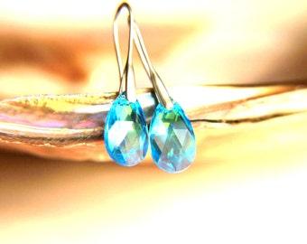 Earrings: Rhodium plated brass earring hooks with blue swarovski crystal, earrings hooks gift for  wedding, valentine's mother's day