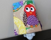 Night Light - What a Hoot - Red & Purple Owl on a Green Branch - Night Light - LAST ONE