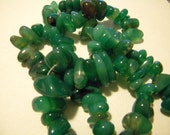 Green agate large chip beads