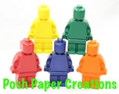 5 LEGO Minifigure crayons - red, blue, green, yellow and orange - in cello bag