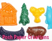 18 camping theme crayons - in cello bag tied with ribbon