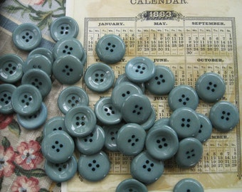Sea Glass Blue/Green Buttons...vintage new old stock...1940...lot of 40