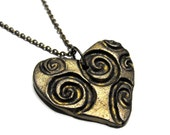 Heart Necklace - Swirls, Antiqued Brass Color, Ready to Ship, Small Gift Box, Womens, Jewelry, Hearts, Valentine's Day, Birthday, Love, Gift