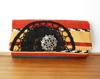 Aztec Inspired Multicolored Trifold Fabric Wallet with Black Doily and Brooch