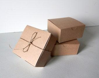 "25 - 4x4x2"" Kraft Gift Boxes"