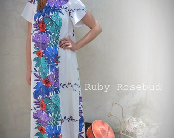 Vintage Tropical Caftan Boho Maxi Dress