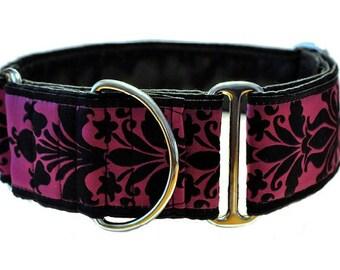 Martingale Collar: Fuchsia Damask Jacquard - 2 Inch, Greyhound Collar, Martingale Dog Collar, Custom Dog Collar, Whippet Collar