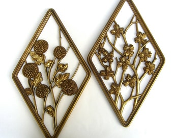 Vintage Syroco Wood Gold Wall Hangings, Retro Hollywood Regency Decor, Mums Cherry Blossoms, DIY Upcycle
