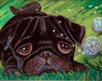 Pug painting art dog black ORIGINAL Oil Pastel Painting Dog pug animal dandelion autumn