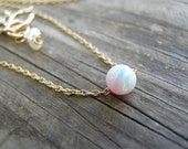 Opal Necklace, Tiny White Opal Necklace, Opal Gold Necklace, Opal Jewelry, Gold Bridesmaid Gift, Dainty, Dot Necklace, Minimalist Necklace