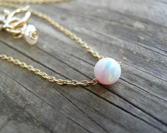 Opal Necklace, Minimalist Necklace, October Birthstone Gold Necklace, Bridesmaid gift, Valentines Day Gift, Bridal White Pink Opal Jewelry