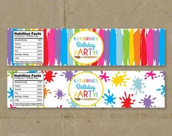 Art Party, Art Party Water Bottle Labels, Art Party Favors, Art Party Drink Labels, Painting Party Water Bottle Labels, Paint Party Labels