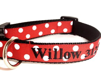 Monogrammed Dog Collar - Personalized Red and White Polka Dot Dog Collar