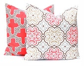 Pillow Covers, Decorative Throw Pillow Covers Two Coral Pillows and Brown Trellis Japanese Decor Cushion Cover Toss Pillow One All Sizes