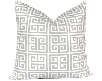 Pillows, Throw Pillows, Gray Pillow Covers, Decorative Throw Pillow Covers Storm Gray Greek Key Towers Premier Prints