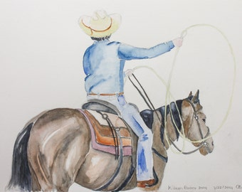 Texas Rodeo, steer roping - Original Water Color