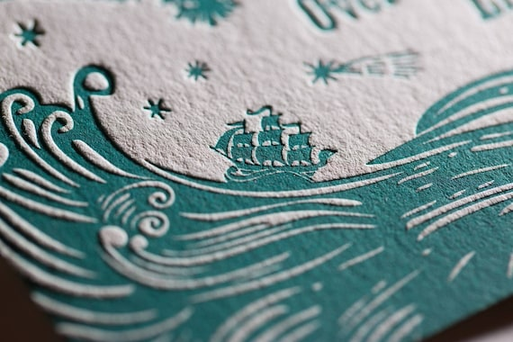 Nighttime Nautical Theme Custom Design Letterpress Birth Announcements