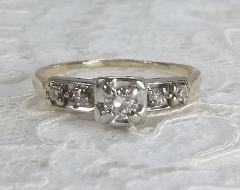 Midcentury 14K Yellow and White Gold 0.27 TCW Diamond Engagement Ring Size 7 1/2