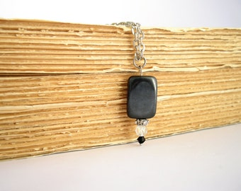 Minimal black onyx pendant, victorian necklace, gemstone necklace, layered necklace
